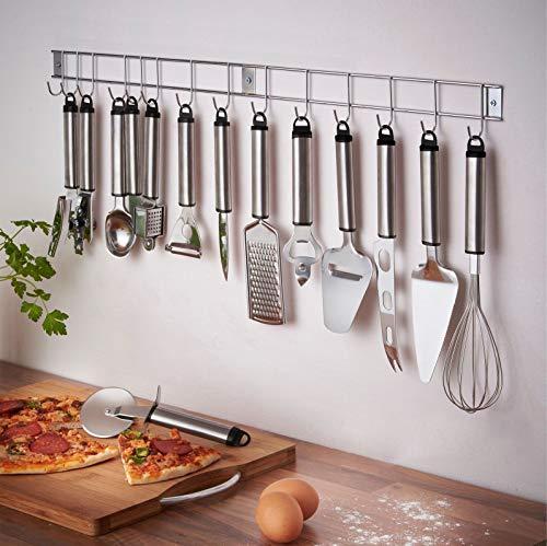 13-teiliges Kochutensilien-Set aus Edelstahl mit Hängestange