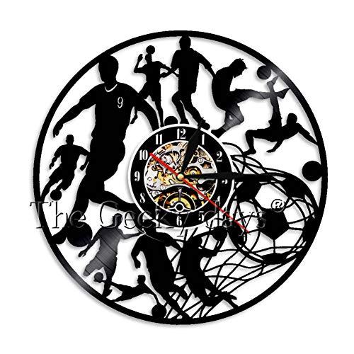 Kunst Wohnkultur Wanduhr Fußball Black & White Classic Ball Vintage Schallplatte Wanduhr Fußball Liebhaber Geschenk ()