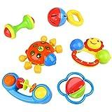 Peradix Rassel Baby Greifling Babyrassel Greifspielzeug Mehrfarbig Handbell Modell Jingle schütteln Ring Bell Ball mit Musik und Licht Kinder Geschenk 6 PCs