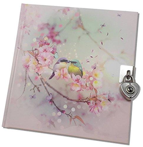 Tagebuch mit Schloss Chacha Vogelpaar 17 x 16 cm, Tagebuch Kirschblüte 180 Seiten