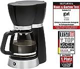 Clatronic KA 3689 Filterkaffeemaschine für 15 Tassen, Glaskanne, Tropfstopp, Abschaltautomatik, 1000 W, Schwarz