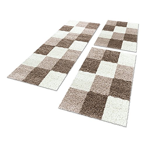 Shaggy Hochflor Teppich Carpet 3TLG Bettumrandung Läufer Set Schlafzimmer Flur, Farbe:Mocca, Bettset:2x80x150+1x80x250