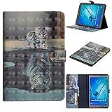 WIWJ Hülle Case für Samsung Galaxy Tab S2 9.7 SM-T815,Ultra Slim Gemalt Schutzhülle Tasche Case Ledertasche Lederhülle Schale Für Samsung Galaxy Tab S2 9.7 SM-T815-Katzentiger