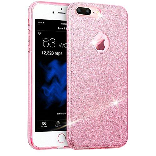 EGO  Glitzer Schutzhülle für iPhone 6 Plus 6S Plus, Silber Back Case Bumper Glänzend Transparente Luxus Bumper TPU Bling Weiche Glamour Handy Cover Silikon Glitter Lipgloss Pink