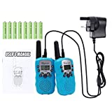 Upgrow RT-388 Kids Children Walky Talky 8 Channel Rechargeable 2 Way Radio for Boys Girls 2-3 KM Range Built in LED Torch (Blue, 8pcs AAA Battery UK Charger Included)