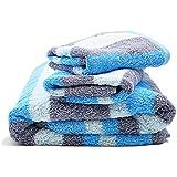 Fourscom® Frottier-Set 6-teilig Handtuchset: 4x Handtücher 34x76 cm und 2 Duschtücher/ Badetücher 70x140 cm, 100 % Baumwolle, Streifen-Blau-Grau