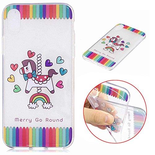 iPhone X Hülle, MSK TPU Silikon Schutz Handy Hülle Handytasche HandyHülle Etui Schale Schutzhülle Case Cover Tasche Etui für Apple iPhone X - Eiscreme Karussell
