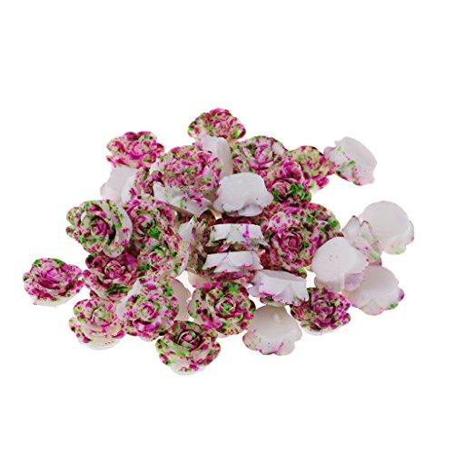 MagiDeal 50pcs Diy Harz Blume Flatback Scrapbooking Für Handy Handwerk Applique - lila und grün -