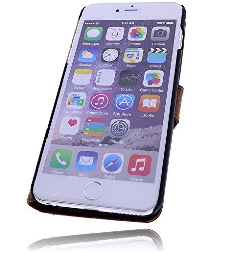 Burkley Apple iPhone 6 Plus / iPhone 6S Plus Hülle | Handyhülle | Schutzhülle | Handytasche | Tasche | Cover | Case mit Standfunktion im Vintage / Retro Look (Schwarz-Tobacco) Rost Braun