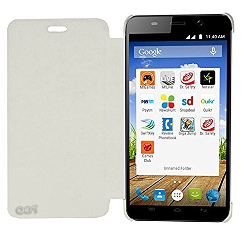 Acm Leather Diary Folio Flip Flap Case For Micromax Canvas Play Q355 Mobile Front & Back Cover White  available at amazon for Rs.179