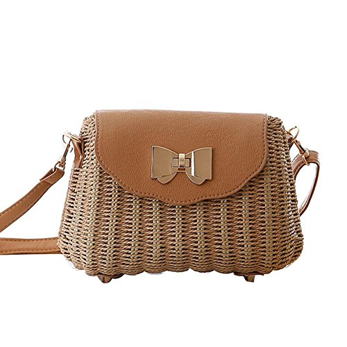 Stroh Bowknot Tasche Crossbody Blumenhandtasche PU gewebte Frauen Mode Weave Simple Beach Tote light brown