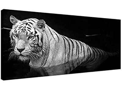 Large Black and White Canvas Wall Art of a Tiger - Animal Canvas Pictures - 1020 - Wallfillers® - low-cost UK canvas shop.