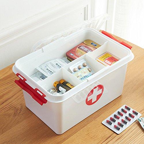 Orpio Plastic Portable Double Layer Medicine Box(White)