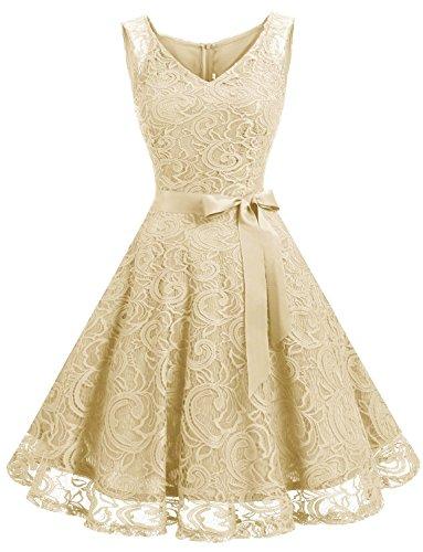 GREMMI Damen Spitzen Abendkleider Partykleid Schwingen Cocktailkleid ?rmellos Spitzenkleid Festlich Brautjungfern Floral Kleid (Floral Beige Kleid)