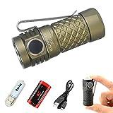 Klarus MI1C EDC Daumengroße Taschenlampe CREE XP-L HI V3 LED mini Torches Max Ausgang 600 Lumen Taschenlampe klein led Enthält 16340 Lithium-Ionen-USB-Akku + USB-Licht + USB-Kabel