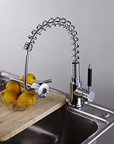 ASIBG Home Kitchen Sink Tap, Copper Pull Type Cold And Hot Water Tap