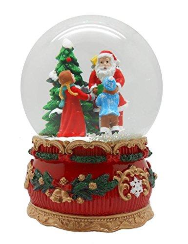 Lightahead® 100mm santa con borsa regalo dare regali ai bambini carillon palla di vetro con neve soffia giocare tune santa claus is coming to town centrotavola