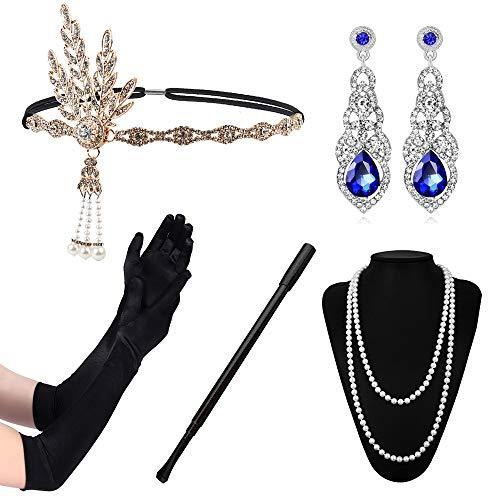 (1920er Jahre Zubehör für große Gatsby Party Flapper Costume Set Frauen Mädchen Damen Accessoires Set)