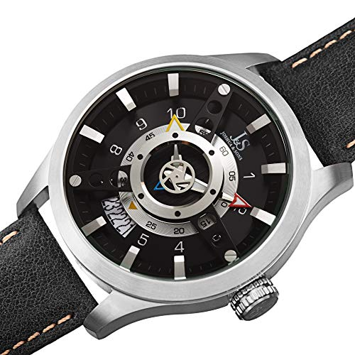 Joshua & Sons Sporty Rugged Unique Men's Watch - Fan-Like Dial Plate Set ATOP a Deep Set Dial with...