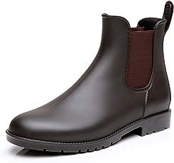 Chelsea Gummistiefel Damen Herren Kurz Stiefeletten Regenstiefel Gartenarbeit Blockabsatz Wellington Boots Schwarz Braun 32-43