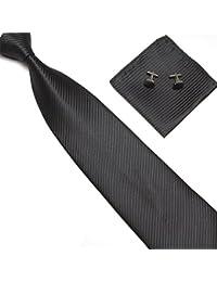 Men's Tie Set Necktie Handkerchief Cufflinks Classic Business Gift Wedding Necktie Set W/Box (Stripes Black)