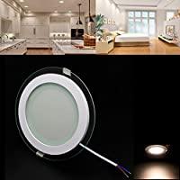 6/12/18W Led panel Redondo Glass LED Ceiling Recessed Panel Down Light Regulable LED luz empotrada Cristal(12W/Regulable blanco cálido)