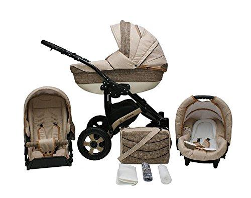 Lux4Kids Venezia Kinderwagen Komplettset (Autositz & Adapter, Regenschutz, Moskitonetz, Schwenkräder) 01 Sand & Cappuccino Structure