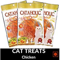 PetSutra Cataholic Treats for Cats and Kittens, Multi Flavor and Multi Size Combo (Chicken Jerky, Pack of 3)