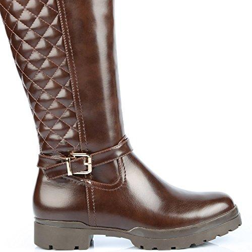 Sapatos Laurelle Botas Ideais Parte Orifício E Acolchoada Castanho Engate De Revestimento Com rEvwr