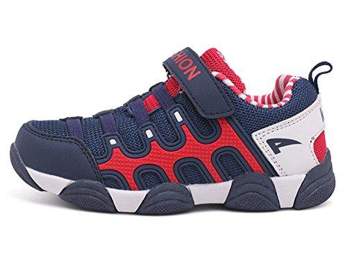 Wealsex Chaussures de Sport Mesh Cuir Baskets Basses Course Fitness Multisport Extérieurs Garçon Fille Mixed Enfant Bleu