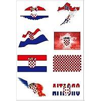 Newin Star Temporäre Tattoos, WM Tattoos Fußball Fanartikel Wasserdichter Gesicht Körper Aufkleber für 2018 WM (Kroatien)