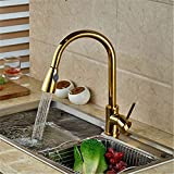 Cwill Golden Pull Out Küchenarmatur Deck Munted Dual Sprayer Funktion Wasserhähne Einlochmontage Heißer und kalter Küchenmixerkran, golden DEF008