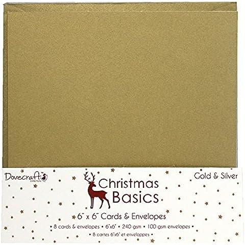 Dovecraft Navidad Basics Tarjetas y sobres x 15,2cm, papel, oro/plata, 6