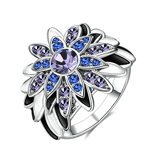 Beydodo Versilbert Ring Verlobung Zweifarbig Blumen Rund Zirkonia -