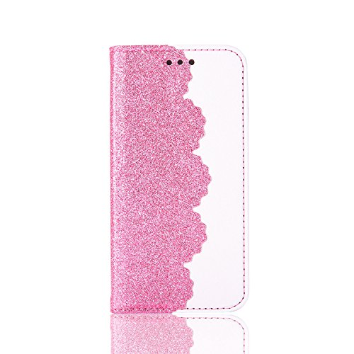 Sunroyal Premium Vintage Collection' Folio Gold Cuir PU Etui Housse Case Cover pour iPhone 6S Plus / iPhone 6 Plus avec Support Multi-Angles Bumper Flip Cover Bookstyle Support Cartes Slots Ultra Minc Lace Rose