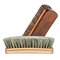 Noblik 6.7 Horsehair Shoe Shine Brushes With Horse Hair Bristles For Boots, Shoes & Other Leather Care, 2 Pack