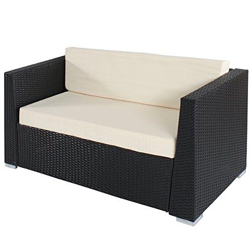 TecTake® Hochwertige Aluminium Luxus Lounge Poly-Rattan Sitzgruppe Sofa Rattanmöbel Gartenmöbel schwarz mit 2 Bezugsets und 4 extra Kissen mit Edelstahlschrauben - 4