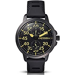 Chotovelli Aviator Men's Watch Multifunction Analogue display Army silicone Strap 33.12