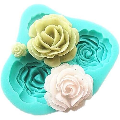 figuras kawaii porcelana fria TININNA Molde De Silicona Forma con 4 Mini Rosas Flores 3D para Fondant Tarta