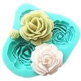 TINNINA 4 Mini a forma di rose fiori Cioccolato torta stampo in silicone Strumenti di decorazioni per torte