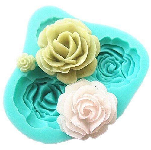 TININNA Molde De Silicona Forma con 4 Mini Rosas Flores 3D para Fondant Tarta
