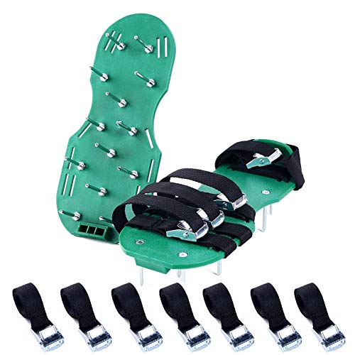 JoyFan Rasen Luftsprudler Schuhe Garten Spikes Sandalen mit 4Sicheren Verstellbare Träger Universal Größe für Alle Schuhe oder Stiefel grün