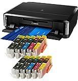 Bundle - Canon Pixma iP7250 Tintenstrahldrucker mit WLAN, Auto Duplex Druck / mit 10x Ti-Sa XL Refill Tintenpatronen