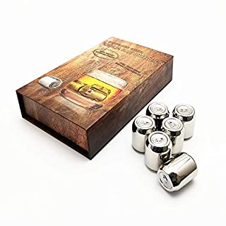 Amazefan Food Grade Stainless Steel Wine Chilling Cubes, Multi Color Stainless Steel Reusable Wine Ice Cubes, Chilling Rocks, Wiskey Stones Pack of 8 (6 Silver Cokes)
