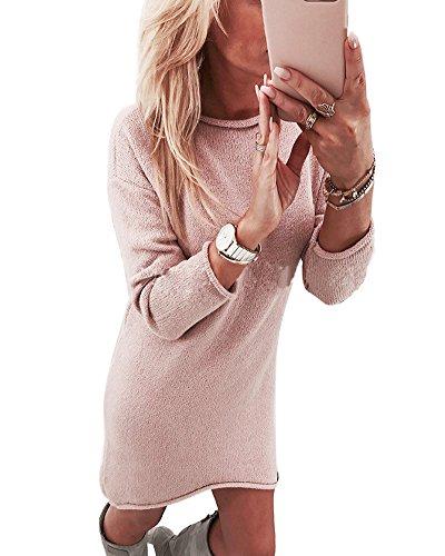Minetom Damen Pullover Kleider Winterkleider Kleid Strickkleider Langarm Mode Stricksweat Strickpullover Lose Sweatkleid Minikleid Rosa DE 40