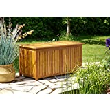 Deuba Cassapanca da giardino 117x50x59cm legno di acacia baule contenitore da esterno multibox