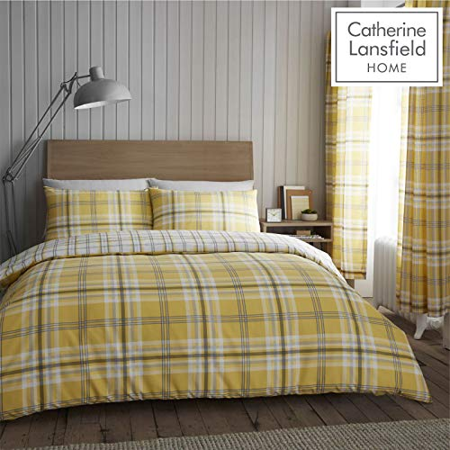 Catherine Lansfield Kelso Easy Care Double Duvet Set Ochre Best Price and Cheapest