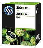 HP 300XL Cartuccia Originale Getto d'Inchiostro ad Alta Capacità, Confezione da 2 Cartucce, Nero