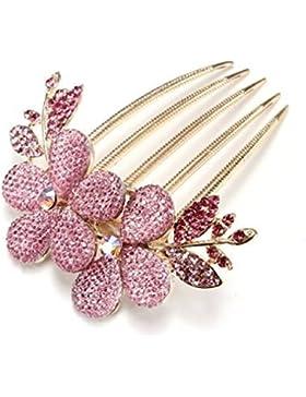 Yazilind Joyas Elegante nupcial de la boda de estilo floral accesorio de pelo Shinning Cintilante de cristal Rhinestone...