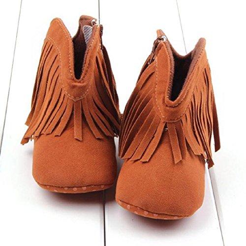Vovotrade Tassel Kleinkind -Säuglings Neugeborenes Baby Schuhe weiche Sohle Stiefel Prewalker (Size:12, Rot) Braun